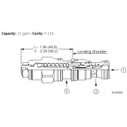 CBCLLJN 2.3:1 pilot ratio, standard capacity counterbalance valve