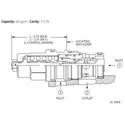CBGLLJN 2.3:1 pilot ratio, standard capacity counterbalance valve