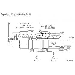 CBILLJN 2.3:1 pilot ratio, standard capacity counterbalance valve