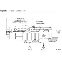 CBIALHN 3:1 pilot ratio, standard capacity counterbalance valve