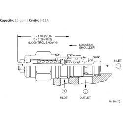 CBCHLJN 10:1 pilot ratio, standard capacity counterbalance valve