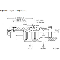 CBIHLJN 10:1 pilot ratio, standard capacity counterbalance valve