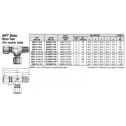 NPT Male Run Tee For metric tube