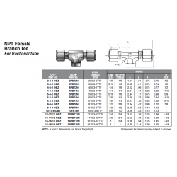 NPT Female Branch Tee For fractional tube