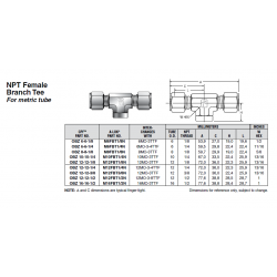 NPT Female Branch Tee For metric tube