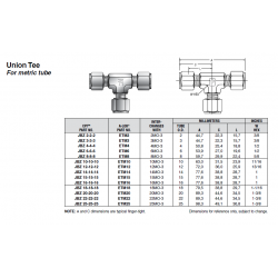 Union Tee For metric tube