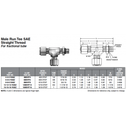 Male Run Tee SAE Straight Thread For fractional tube