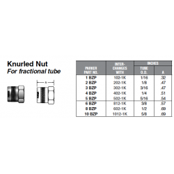 Knurled Nut For fractional tube