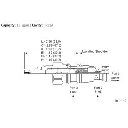 CKCSXCN 5:1 pilot ratio, pilot-to-open check valve with sealed pilot