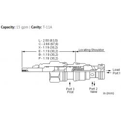 CKCRXCN 5:1 pilot ratio, pilot-to-open check valve with standard pilot