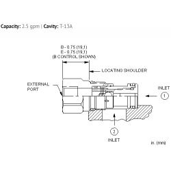 CSAAEXN Single ball shuttle valve with signal external
