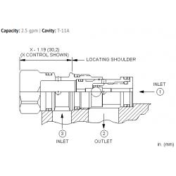 CSADXXN Single ball shuttle valve with signal at port 2