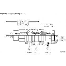 DOHPLAN Normally open, balanced poppet, logic element - pressure adjustable