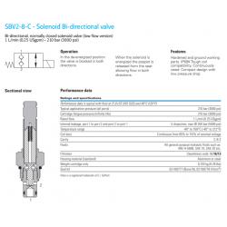 SBV2-8-C - Solenoid Bi-directional valve