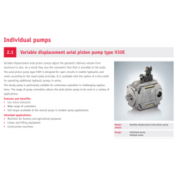Variable displacement axial piston pump type V30E