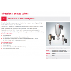 Directional seated valve type BVE