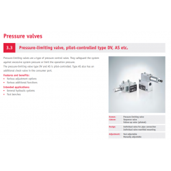 Pressure-limiting valve, pilot-controlled type DV, AS etc.