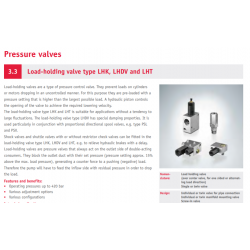 Load-holding valve type LHK, LHDV and LHT