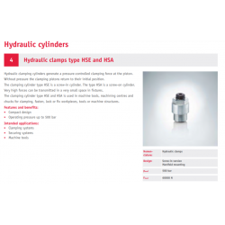 Hydraulic clamps type HSE and HSA