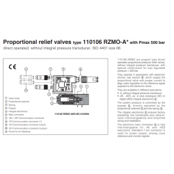 Proportional relief valves type 10106 RZMO-A witch Pmax 500 bar RZMO-A-010-500