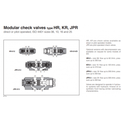 Modular check valves type HR, KR, JPR