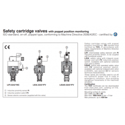 Safety cartridge valves with poppet position monitoring LIFI