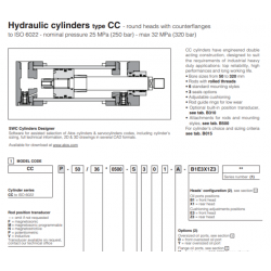 Hydraulic cylinders type CC round heads with counterflianges CC