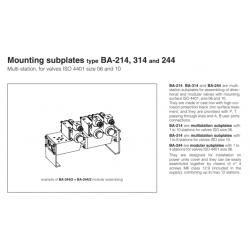 Mounting subplates type BA-214,BA-314,BA-244