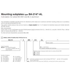 Mounting subplates type BA-214-AL