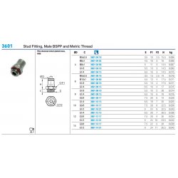 3601 Stud Fitting, Male BSPP and Metric Thread