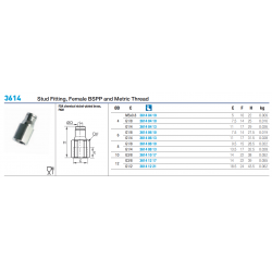 3614 Stud Fitting, Female BSPP and Metric Thread