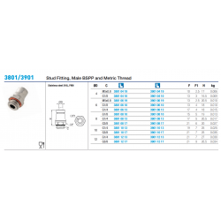 3801/3901 Stud Fitting, Male BSPP and Metric Thread