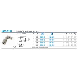 3809/3909 Stud Elbow, Male BSPT Thread