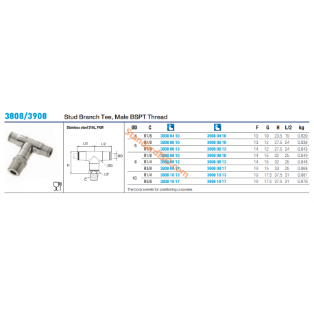 3808/3908 Stud Branch Tee, Male BSPT Thread