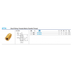 6114 Stud Fitting, Female Metric Parallel Thread