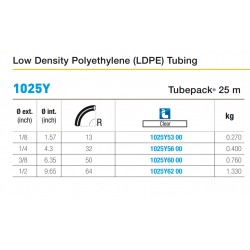 1025Y Low Density Polyethylene (LDPE) Tubing