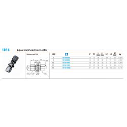 1816 Equal Bulkhead Connector