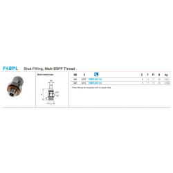 F4BPL Stud Fitting, Male BSPP Thread