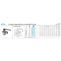 0472 2/2 Right-Angled Ball Valve, Female BSPP Thread