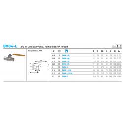 BVG4-L 2/2 In-Line Ball Valve, Female BSPP Thread