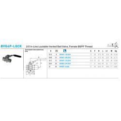 BVG4P-LOCK 2/2 In-Line Lockable Vented Ball Valve, Female BSPP Thread
