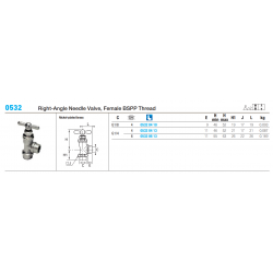 0532 Right-Angle Needle Valve, Female BSPP Thread