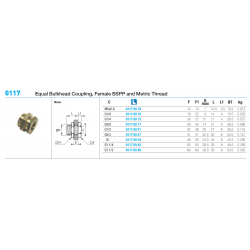 0117 Equal Bulkhead Coupling, Female BSPP and Metric Thread