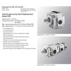 Internal gear pump, fi xed displacement Model PGF Frame sizes 1, 2 and 3 Component series: 2X (FS1 and 2)