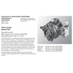 Vane pumps Model PSV Series 5X and 6X Max. pressure up to 140 bar (2000 PSI) Max. displacement 164 cm3 (10 in3)