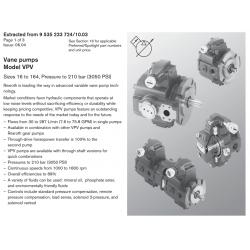 Vane pumps Model VPV Sizes 16 to 164, Pressure to 210 bar (3050 PSI)