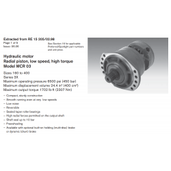 Hydraulic motor Radial piston, low speed, high torque Model MCR 03