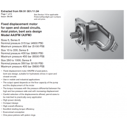 Fixed displacement motor for open and closed circuits, Axial piston, bent axis design Model AA2FM (A2FM)
