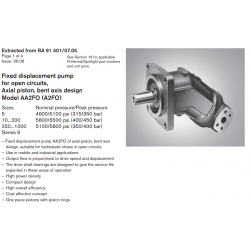 Fixed displacement pump for open circuits, Axial piston, bent axis design Model AA2FO (A2FO)