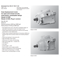 Dual displacement motor for open and closed circuits, Axial piston, swashplate design Model A10VM Model A10VE, Plug-in version